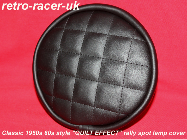 Classic 1950s 60s style quilt effect rally spot fog lamp light covers ford mg jaguar triumph mini rover austin healey 3000 morris riley vauxhall .. retro-racer-uk
