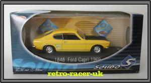 1969 MK1 YELLOW FORD CAPRI 1 43 SCALE DIECAST MODEL SOLIDO CODE NUMBER 1848 retro-racer-uk
