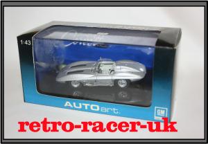 AUTOART 143 SCALE DIECAST MODEL CAR CHEVROLET CORVETTE STINGRAY 1959 SILVER 51001 retro-racer-uk
