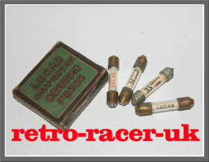 BOX OF VINTAGE LUCAS CAV ROTAX GLASS FUSES ROLLS ROYCE ROVER FORD VAUXHALL AUSTIN MORRIS MG retro-racer-uk