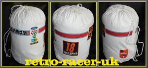 FORD MK1 1600 ESCORT LONDON TO MEXICO 1970 RALLY DRAWSTRING DUFFEL KIT BAG HOLDALL. HANNU MIKKOLA CAR #18 retro-racer-uk
