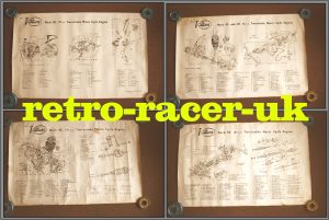 FOUR ORIGINAL 1950s VILLIERS TWO STROKE MOTORCYCLE ENGINE EXPLODED DIAGRAM WALL POSTERS classic road race pre 65 trials scrambles greeves James retro-racer-uk