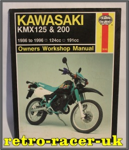 HAYNES KAWASAKI KMX125 KMX200 TWO STROKE 1986 to 1996 TRAIL BIKE MOTORCYCLE WORKSHOP OWNERS REPAIR MANUAL ISBN 1859602428. retro-racer-uk
