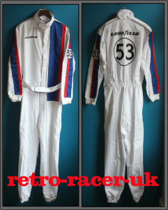 HERBIE 53 VW BEETLE LOVE BUG WHITE RACING DRIVER STYLE RACE JUMP SUIT COVERALLS OVERALLS. retro-racer-uk