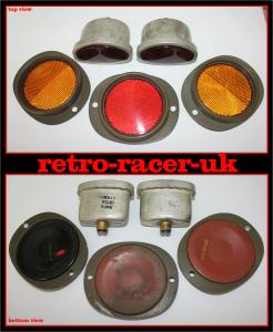 selling original old willys Jeep red rear 6v volt tail light lamp unit amber orange red relectors WW2 retro-racer-uk